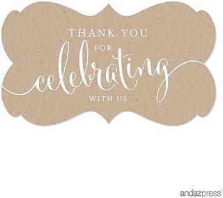 ملصقات ملصقات ملصقات بعلامة مستطيلة فاخرة من آنداز بريس، Thank You for Celebrating With Us، طباعة حرفية، عبوة من 36 قطعة