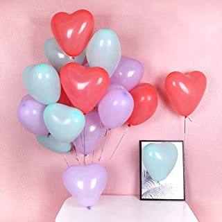 50Pcs Party Balloons 12 Inches Color Balloons Heart Shape Thickened Latex Balloon Birthday Party Supplies or Arch Decorati...