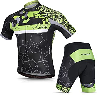 Lixada Men's Cycling Jersey Set Breathable Quick-Dry MTB Road Bike Cycling Clothing Set Short Sleeve Biking Shirt with 3D Gel Padded Shorts