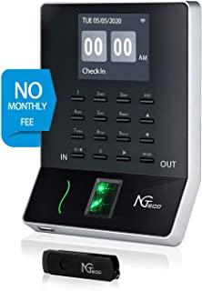Time Clocks for Employees Small Business, Upgraded W2 Wi-Fi Biometric Fingerprint Digital Time Attendance Terminal Clock M...