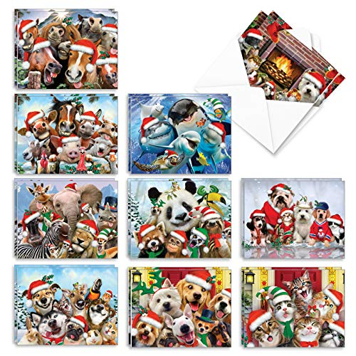 The Best Card Company - 20 Animal Christmas Cards Bulk (10 Designs, 2 Each) - Boxed Holiday Cards for Xmas, Kids (4 x 5.12 Inch) - Merry Christmas to Zoo AM6652XSG-B2x10
