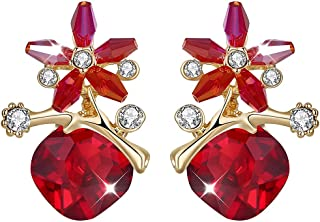 Yellow Chimes Floral Red Crystal Stud Earrings for Women (Red) (YCFJER-RHMBS8228-RD)