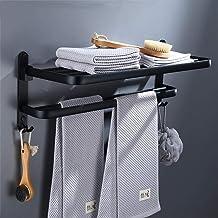 Ruimte aluminium vrij ponsen hanger Zwart handdoekenrek handdoekenrek Badkamer badkamer rek hardware hanger-60cm handdoeke...
