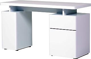 Marque Amazon -Movian Sava - Bureau à 1 tiroir et 2 portes, 140x55x76cm, Blanc à finition ultra-brillante