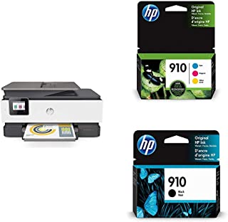 HP OfficeJet Pro 8025 All-in-One Wireless Printer, Smart Home Office Productivity (1KR57A) with Ink Cartridges - 4 Colors