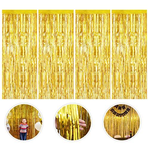 Lametta Vorhänge, 4 Stück Metallic Tinsel Vorhänge Folie Vorhang Gold Glitzer Vorhängen Dekoration Glitzer Vorhang für Party Hochzeit Geburtstags Weihnachten Fotokabine Türvorhang Deko, 1m x 2m