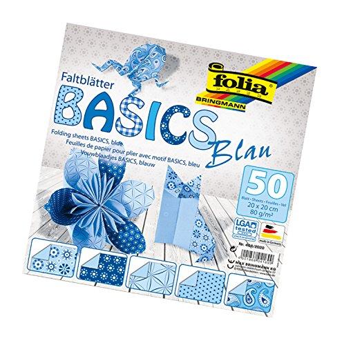 folia 464/2020 - Faltblätter Basics blau 20 x 20 cm, 80 g/qm, 50 Blatt sortiert in 5 Motiven - ideal für wunderschöne Faltfiguren und -formen