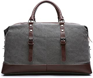 Weekend Bag Unisex, Oversized Canvas Travel Duffel Holdall for Women Men Weekender Overnight Bag with Durable Handle (Gray)