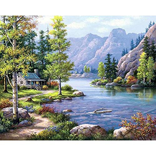 Adult Diamond Painting Landscape Mountain Lake Natural Decor Cross Stitch Kits Arts Paintings Living Room Bedroom Wall Decor Painting