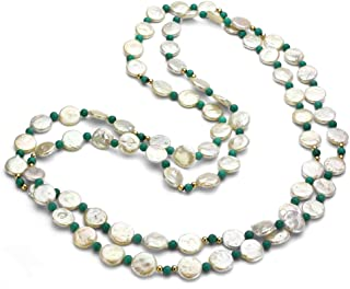 10-10.5mm White Coin Freshwater Cultured Pearl 4mm Round Simulated Magnesite Endless Necklace 48