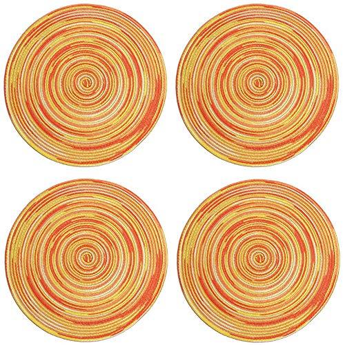 Xkfgcm Set da 4 Tavolo Tovagliette e Sottobicchieri Rotonde Non-scivolose Tovagliette stuoie da 30cm/11.8 Pollici Intrecciate a Mano, Antiscivolo Resistenti alle Macchie Tovaglietta da Cucina