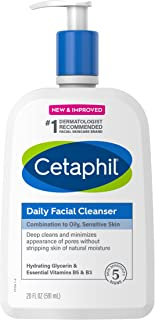 Face Wash by CETAPHIL, Daily Facial Cleanser for Sensitive, Combination to Oily Skin, NEW 20 oz, Gentle Foaming, Soap Fre...