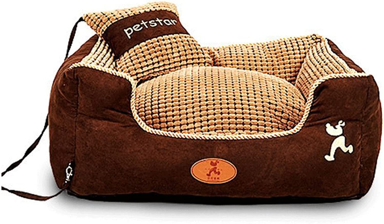 LM921 Deluxe Pet Bed for Cats and Small Medium Dogs Rectangle Cuddler with Soft Detachable Cushion brown, Washable Solid colors Nonslip Collapsible Soft Warm Dog Cat Puppy Pet Nest (Size   S)
