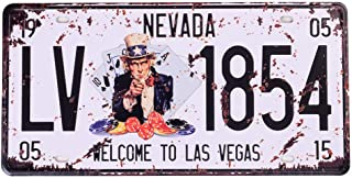 Nevada License Plate,Welcome to Las Vegas Embossed, Retro Vintage Auto Prop Vanity Number Tags, Home Car Garage Bar Vehicle Wall Decor, 6