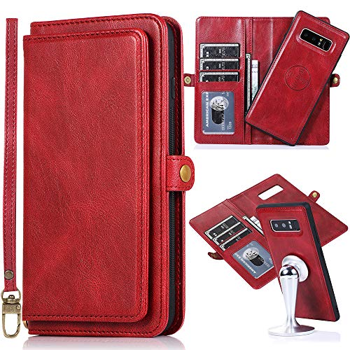 Kudex Galaxy Note 8 Wallet Case for Women,Note 8 Case with Card Holder,2 in 1 Detachable Magnetic Leather Removable Inner TPU Magnetic Case with 7 Card Slot/Money Pocket/Kickstand/Wrist Strap(Red)