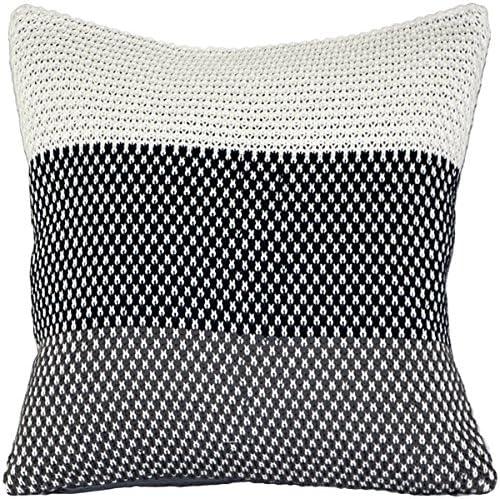 PILLOW DÉCOR Hygge Limited time cheap sale Regular dealer Tri-Stripe Blue Knit Pillow