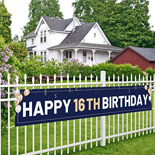 Happy 16th Birthday Banner Blue, Large 16th Bday Sign, 16th Birthday Party Outdoor Decoration for Boy Men(9.8 x 1.6 feet)