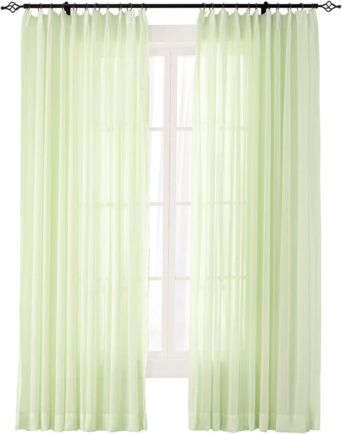 ChadMade Indoor Outdoor Solid 本日限定 Sheer Pinch Curtain Pleated 8 セール商品 Kiwi