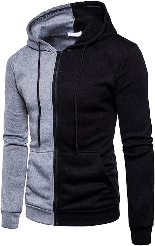 Hoodies for Men Men's Autumn Color Matching Block Zipper Long-sleeve Fashion Hooded Fashion Sweatshirts Hoodies Jacket