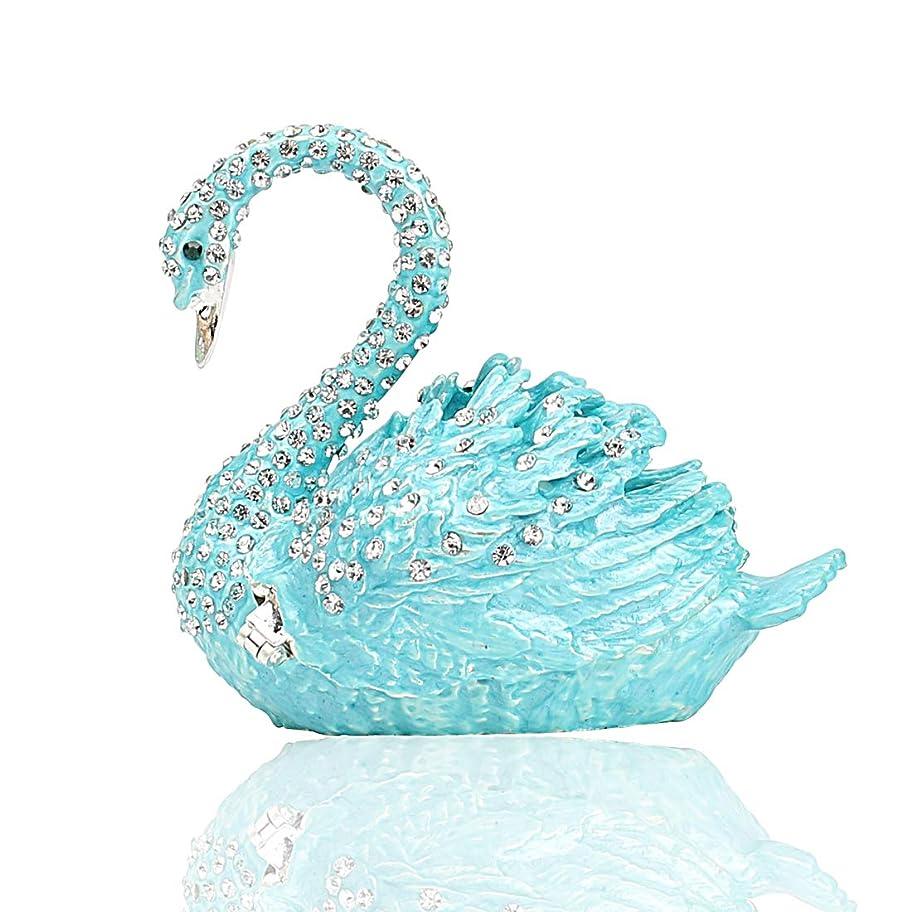 急降下脳ウサギHophen ダイヤモンド スワン ジュエリーボックス 小物入れ 動物 フィギュリン 家の装飾 ラブリー コレクション (水色)