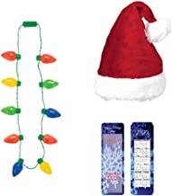 Ugly Sweater Christmas Party Santa Dress Up Set: Santa Claus Hat with Bells, LED Christmas Light Bulb Necklace plus an Exclusive ElevenPlus2 2020 Holiday Bookmark