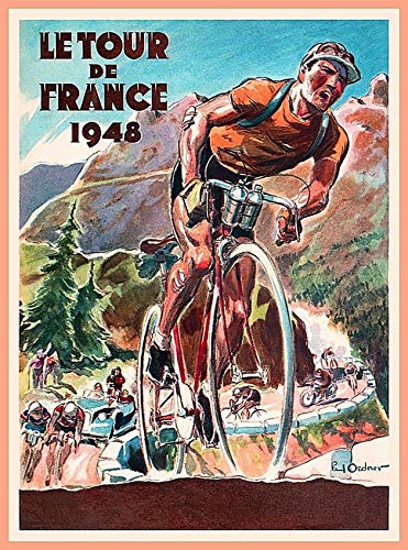 ABLERTRADE Aabletrade 1948 Tour de France Fahrrad Race Paris Frankreich Vintage Travel Art Metall Blechschilder 20x30,5 cm