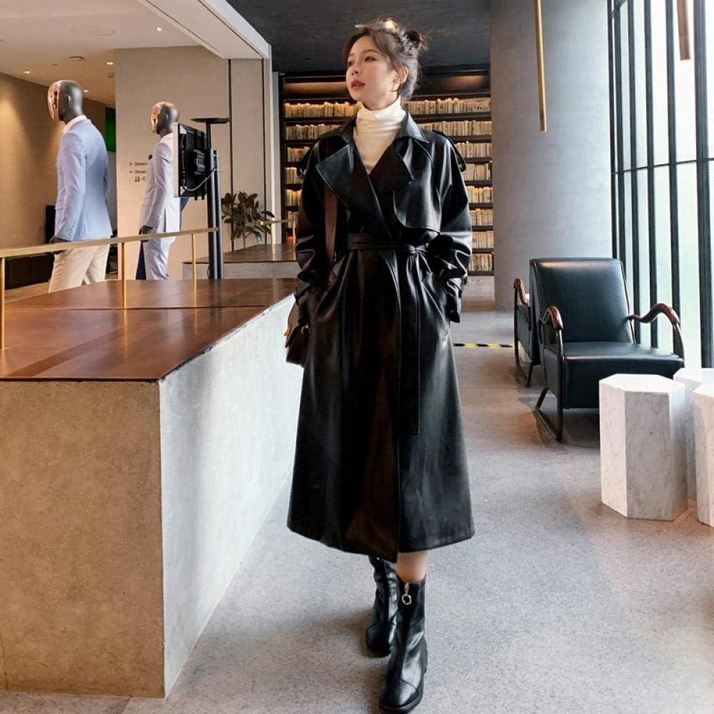 LYNLYN Jackets Ladies Long Pu Leather Windbreaker with Belt Ladies Windbreaker Waterproof Women Jacket Coats (Color : Black, Size : L)