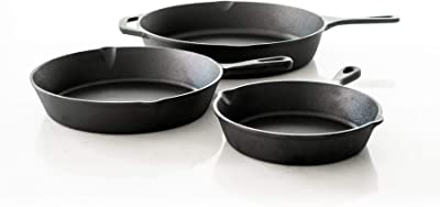 Pur Pre-Seasoned Cast Iron Pans Cookware Set of 3 (8-inch 10-inch 12-inch Pans Included) Great For Cooking, Baking, Broiling With Induction, Electric, Gas & Oven