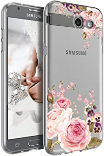 Sidande Shockproof Clear Floral Soft Flexible TPU Slim Phone Case for Case for Samsung Galaxy J7 (2017), Galaxy J7 V, Gala...