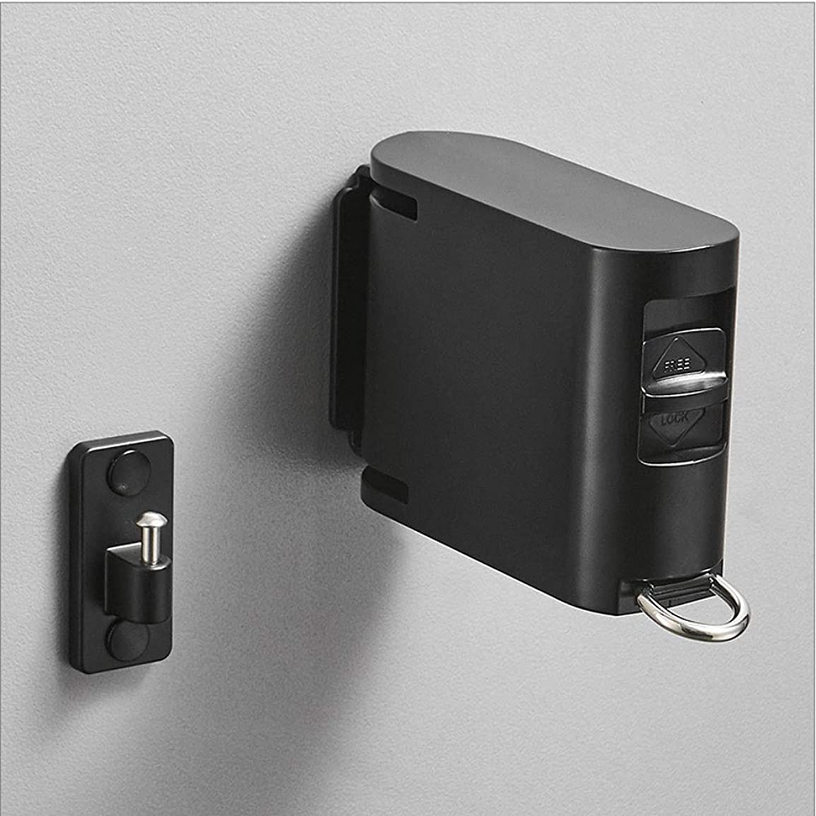 繰り返し微弱動揺させるOPcFKV バルコニー見えないシュリンク洗濯物乾燥キルト無料パンチング服アーティファクト屋内伸縮ラックアパートバスルーム (Color : Black)
