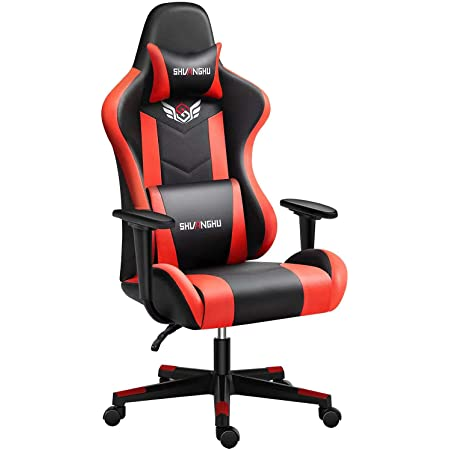 shuanghu Gaming Chair Office Chair Ergonomic PC Computer Chair Reclining Racing Chair with Headrest and Lumbar Support Gaming Chair for Adults Men Women Teens Desk Chair (Black+red)