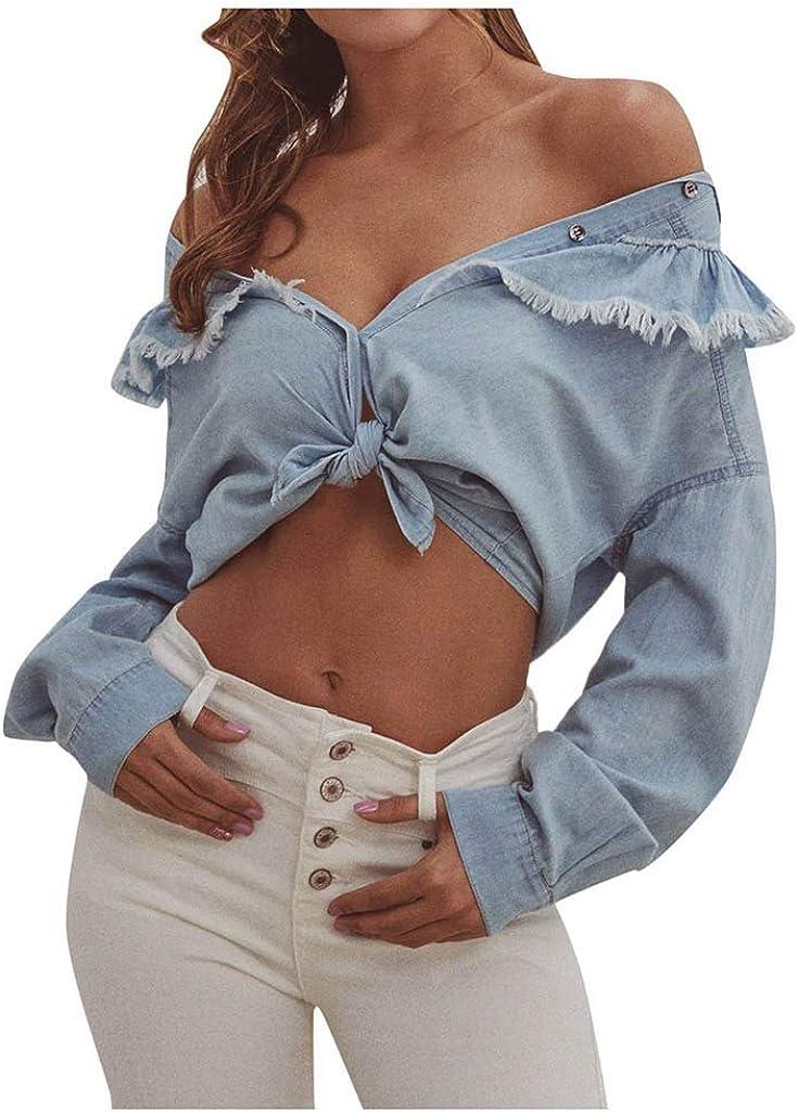 Kangma Women's Denim Frill Trimed V Neckline Long Sleeve Button Down Shirt Casual Blouse Tops Jeans