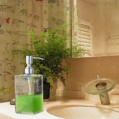 VCOO Soap Dispenser Bottle with Stainless Steel Pump, Refillable Rectangle Clear Glass Jar, Great for Essential Oils, Lotions, Liquid Soaps for Kitchen Bathroom(500ml/16oz)
