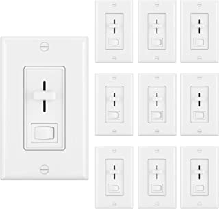 [10 Pack] BESTTEN Dimmer Light Switch for Dimmable LED, Halogen and Incandescent Bulbs, Single Pole or 3 Way, Vertical Slider, On/Off Rocker Switch, Wall Plate Included, UL Listed, White