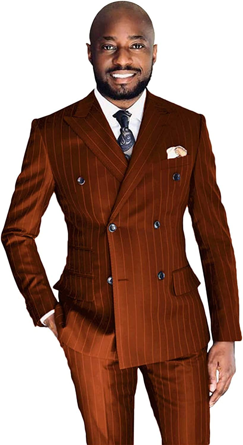 Men's Suit Stripe Two Pieces Peak Lapel Suits Double Breasted Classic-Fit for Wedding Tuxedos
