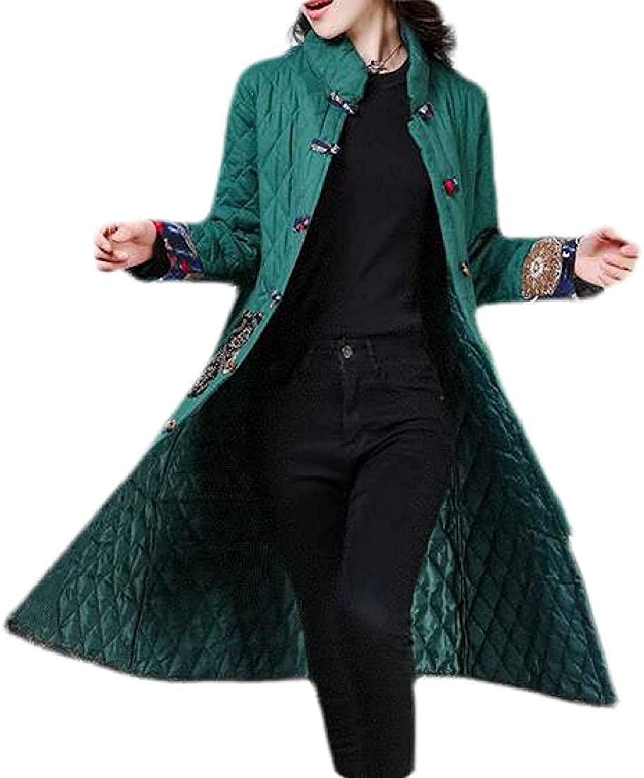 Women's Cotton Linen Ethnic Print Mid Length Winter Quilted Jacket Coat Outerwear