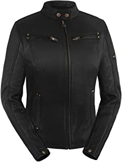 True Element Womens Sleek Vented Scooter Collar Leather Motorcycle Jacket (Black, Medium)