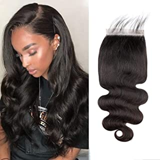 Amberhair 6x6 Body Wave Lace Closure 100% Human Hair Brazilian Virgin Hair Free Part Closure With Baby Hair Natural Color 14inch