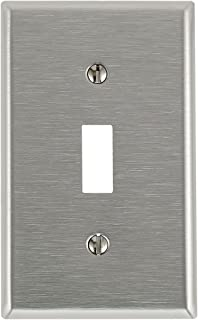 Leviton 84001 003-000 1-Toggle Standard Size Wall Plate, 1 Gang, 4-1/2 in L X 2-3/4 in W 0.22 in T, Satin, 1-Pack, Stainless Steel