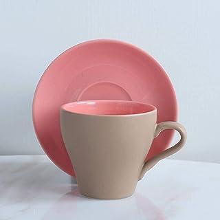 طقم فنجان قهوة من السيراميك الملون وصحون على الطراز الأوروبي 160 مللي كوب شاي كابتشينو إسبرسو