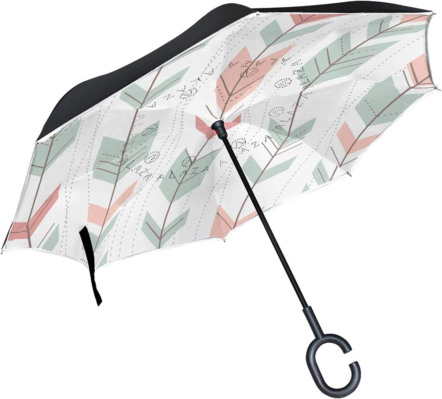 FAJRO Geometric Pattern in Retro Style Upside Down Ingreened Umbrellas CShaped Handle for Car Rain Outdoor Women Men