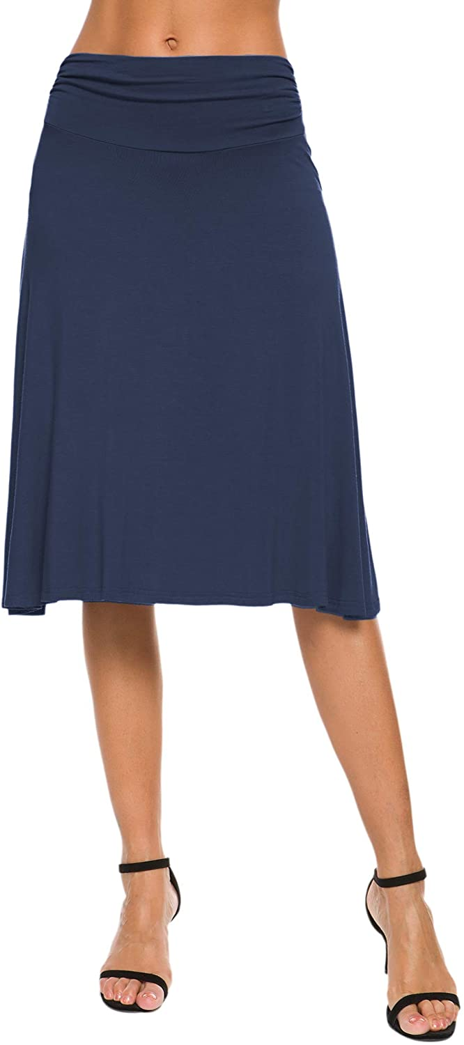 EXCHIC Women's Stretchy Ruched Waist Casual Flared Yoga Skirt
