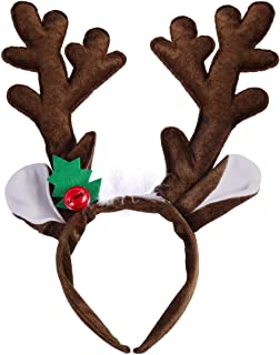 Pixnor Christmas Reindeer Antlers Headband Adult Kids Hair Hoop for Xmas Easter Party Holiday Costume