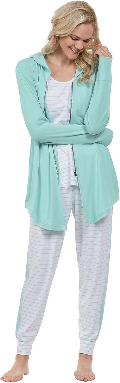PajamaGram Womens PJs Sets Soft - Cute Women Pajamas, 3-Piece, Green