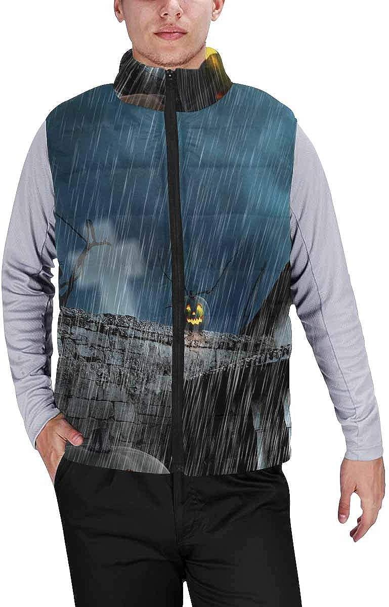 InterestPrint Men's Winter Lightweight Sleeveless Padded Vest Halloween Pumpkins and Dark Castle