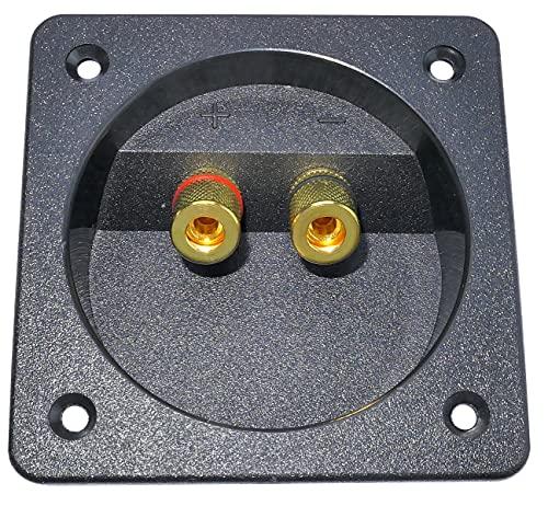 AERZETIX - C52253 - Morsettiera di collegamento altoparlanti - Montaggio a pannello a 2 vie - per Ø 70 mm - Apertura 80/80 mm - Nero - in plastica e metallo dorato