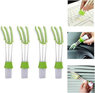 Happy reunion Window Blind Cleaner Duster Brush 4 Pcs Mini Duster Automotive Air Conditioner Cleaner Brush Microfiber Dust Collector Cleaning Cloth Tool (Air Conditioner Brush)