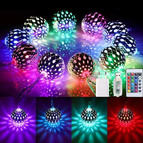 4M Marokkanische LED Lichterkette USB, 40er LED 16 Farben Kugel Orientalisch Lichterkette Außen, Farbwechsel Kugeln Stimmungsbeleuchtung mit Fernbedienung fur Weihnachten,Thanksgiving, Balkon,Garten