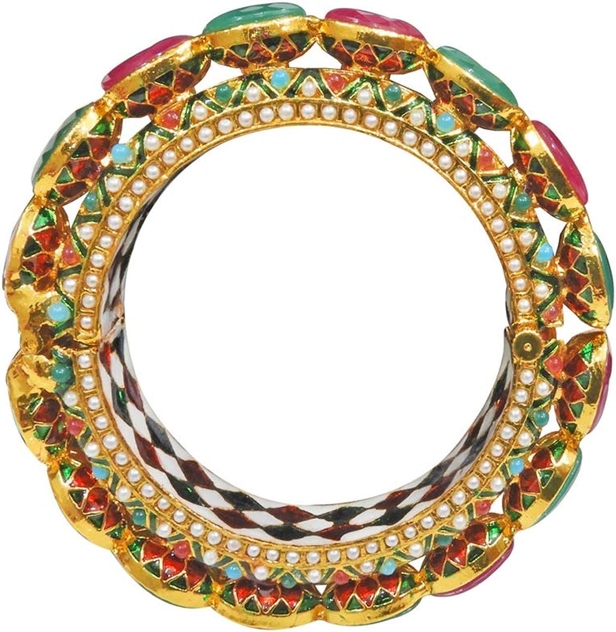Babosa Sakhi Traditional Ethnic Navratan Bangle Pearl Openable Gold Plated Bollywood Kada