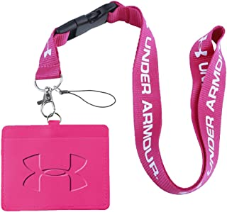 Under Armour Rose Red Faux Leather Business ID Badge Card Holder with (Pink with White) Keychain Lanyard